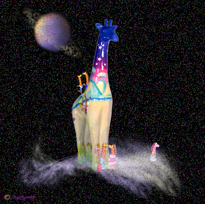 Nextra-terrestrial giraffe travelling through intergalactic space - Stand Tall for Giraffes - Ingrid Sylvestre