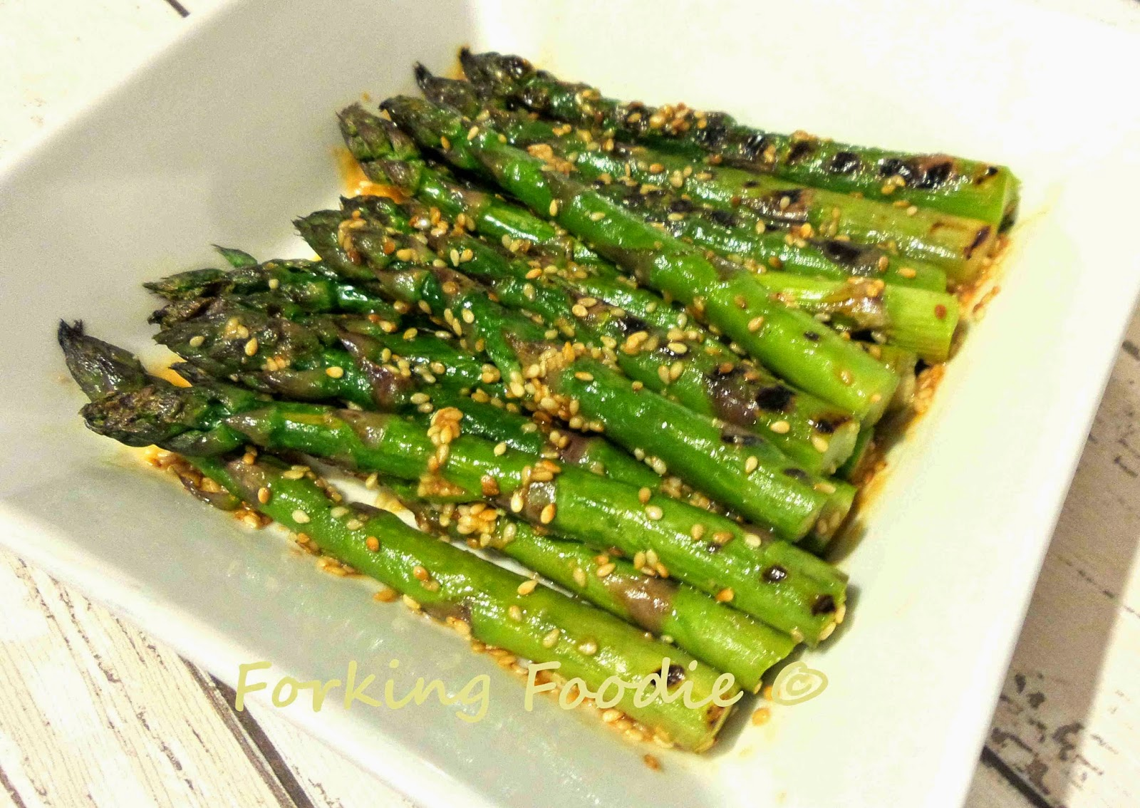 Forking Foodie: Sesame-Miso Asparagus or Green Beans (...or Broccoli?)