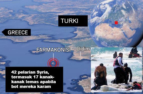 17 kanak-kanak antara 42 pelarian Syria lemas selepas bot karam