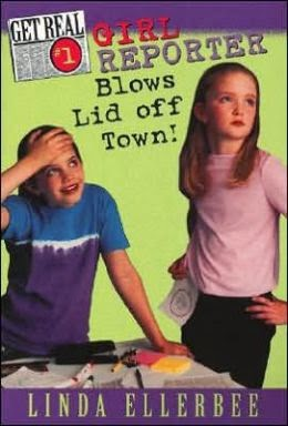 Book cover: Girl Reporter Blows Lid off Town! by Linda Ellerbee. Two middle-school aged girls look toward what would be the right from the perspective of someone looking at this cover. The girl on the left has her right hand pressed to her forehead and a smile on her face. The second girl has a more solemn expression and has her hands on her hips.