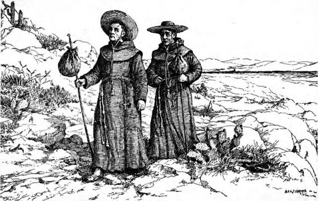 Drawing of Two Franciscan Missionaries in California