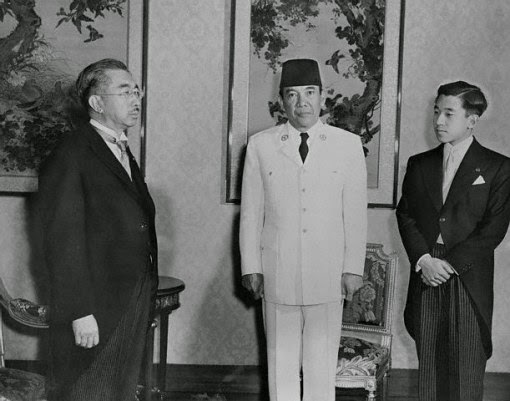 President Sukarno was guest of honor the Emperor of Japan, Hirohito, and Prince Akihito.