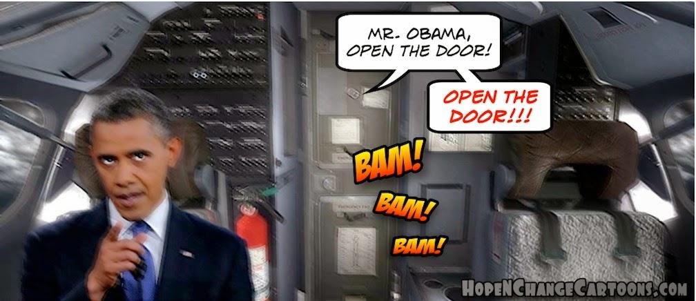obama, obama jokes, political, humor, cartoon, conservative, hope n' change, hope and change, stilton jarlsberg, germanwings, crash, lubitz, locked out