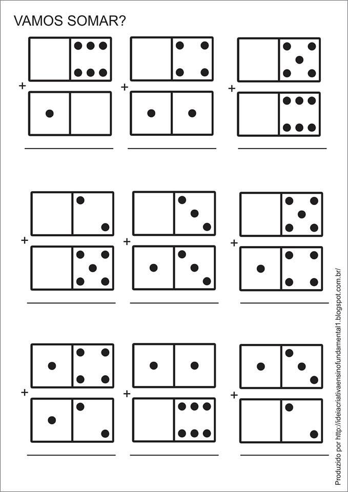 Atividade Educativa Matemática Soma/Adição com Dominós para Ensino Fundamental