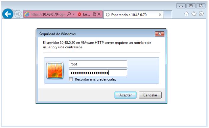 Credenciales de root en el host utilizando el navegador