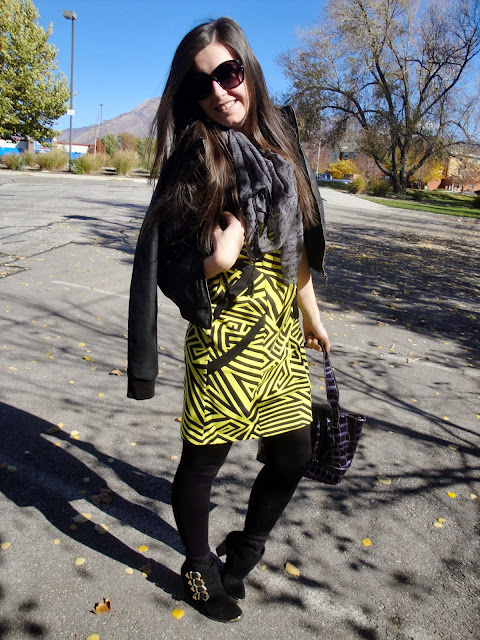Kensie giveaway, kensie, scarf, yellow dress, chevron print, aztec print, tights, denier tights, ankle booties, bag, leather jacket, long hair, kensie clothing, giveaway, kardashian kollection, kardashian,