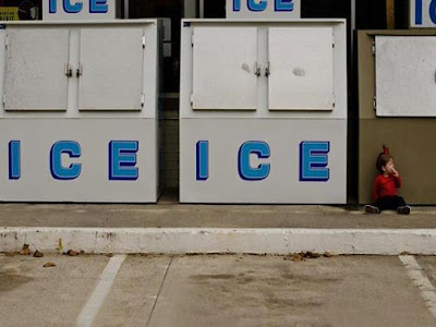 Ice, ice baby. Ice coolers in front of store.