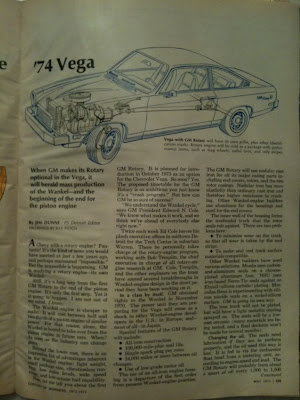 the great cars  Chevrolet vega 1974 by rotor engine