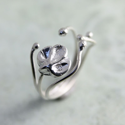 Organic silver ring design.