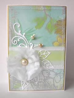 открытка с самодельным цветком