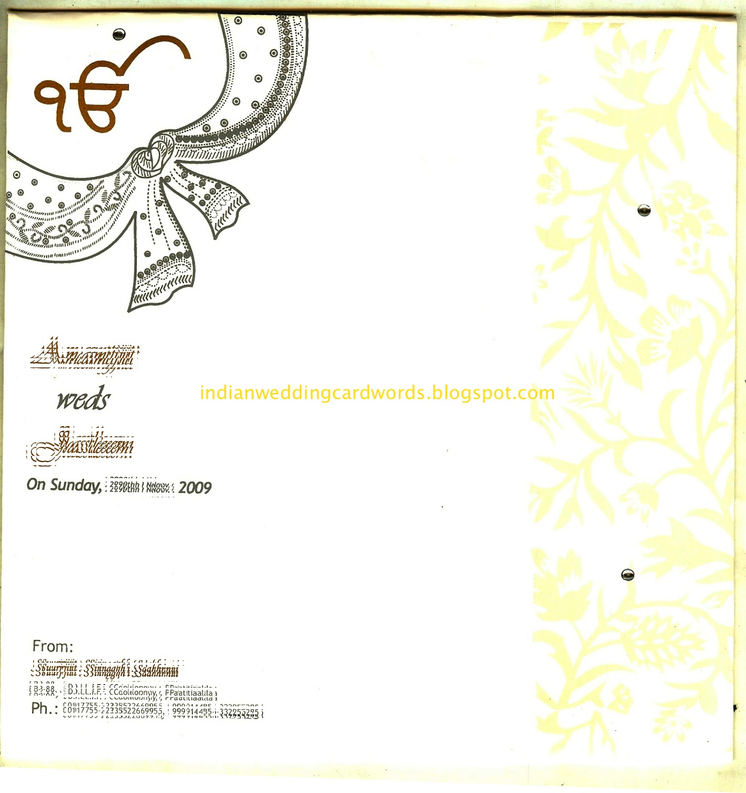 Indian wedding card wordings in text format.: Parents invite to ...