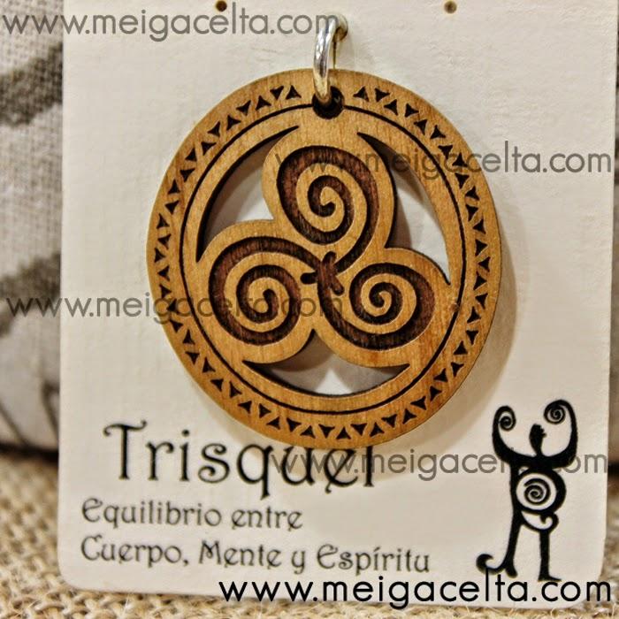 Trisquel de Madera y Plata - Amuleto y Talisman de Artesanía de Galicia Meiga Celta