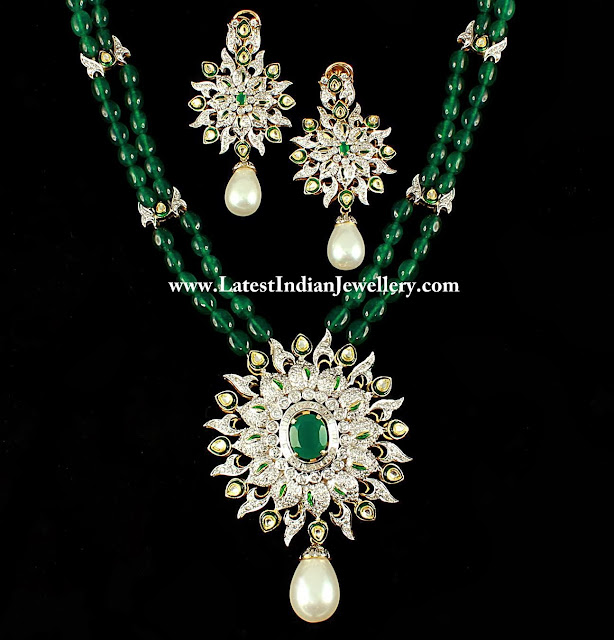Emerald Beads Necklace with Diamonds