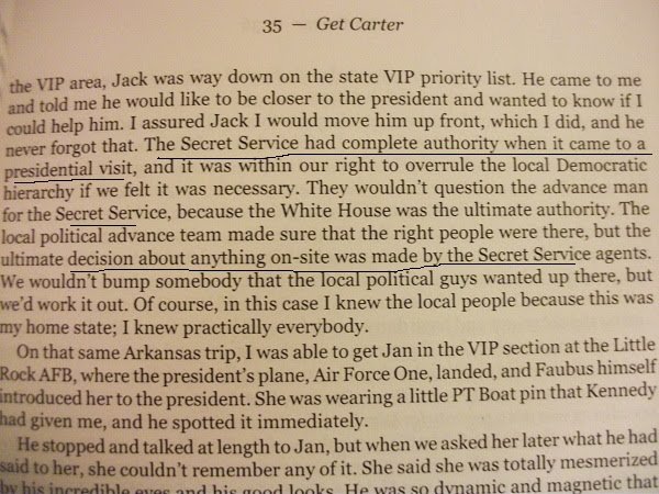 "JFK Secret Service Agent Bill Carter, from his book ""Get Carter"" (2006), page 35"