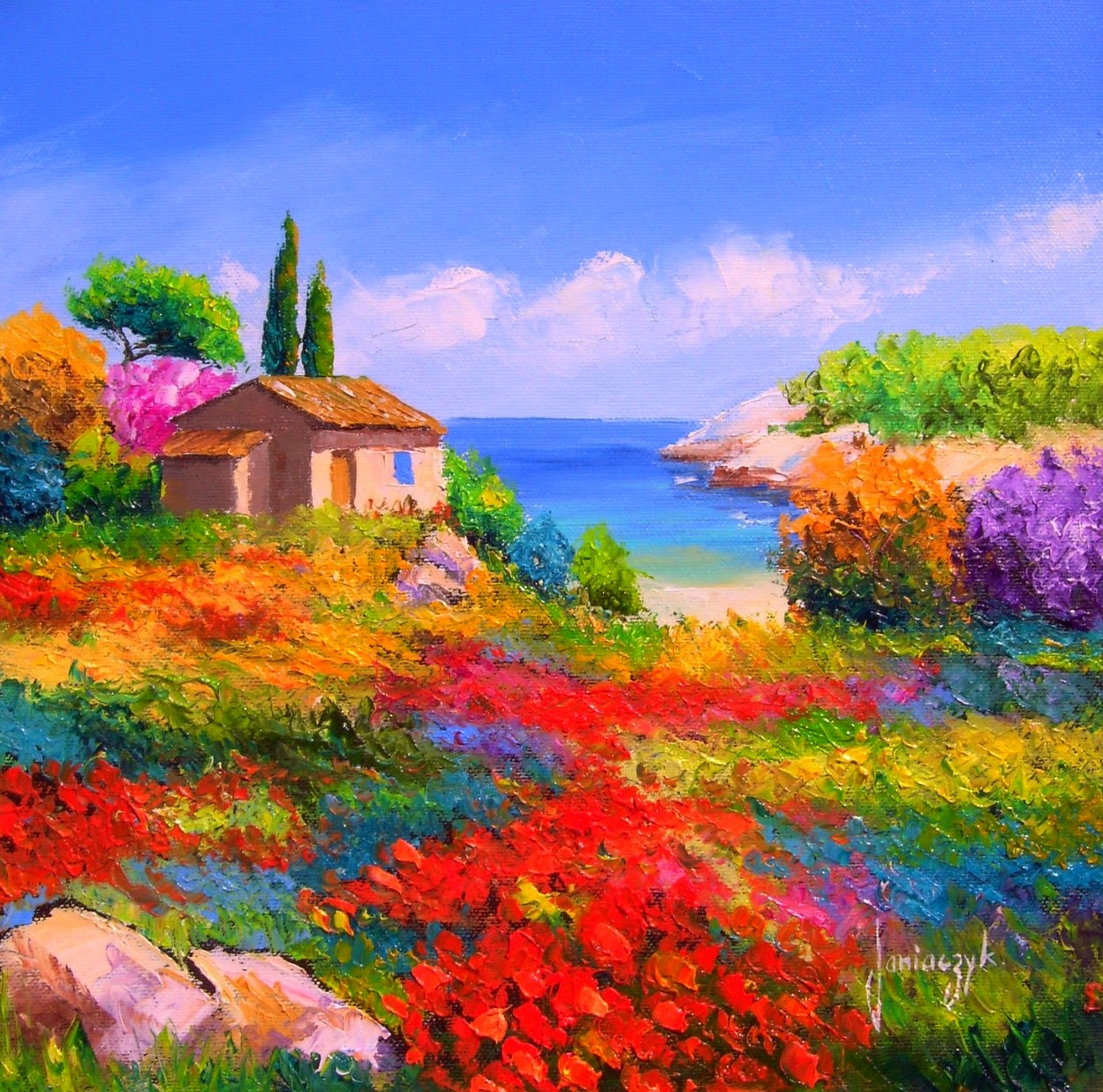 Cuadros modernos pinturas y dibujos coloridos paisajes - Paisajes de casas ...