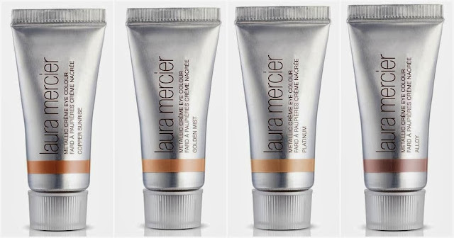 Laura Mercier Spring 2014 Color Stay Renaissance, Laura Mercier, spring 2014, makeup, cosmetics, spring renaissance, flawless makeup, timeless makeup, spring makeup, makeup product, cosmetics, Laura Mercier Metallic Cream Eye Color Golden Mist, Copper Sunrise, Platinum, Alloy