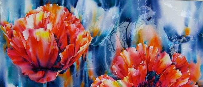 watercolor, watercolour, king poppy, poppy, painting, adriane, bondar
