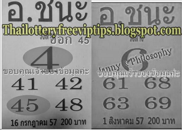 Thai Lottery Down Set 01-08-2014