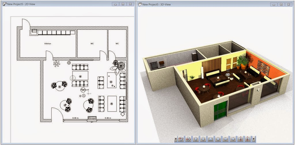Nice Cafe 3D Plans Design Collections