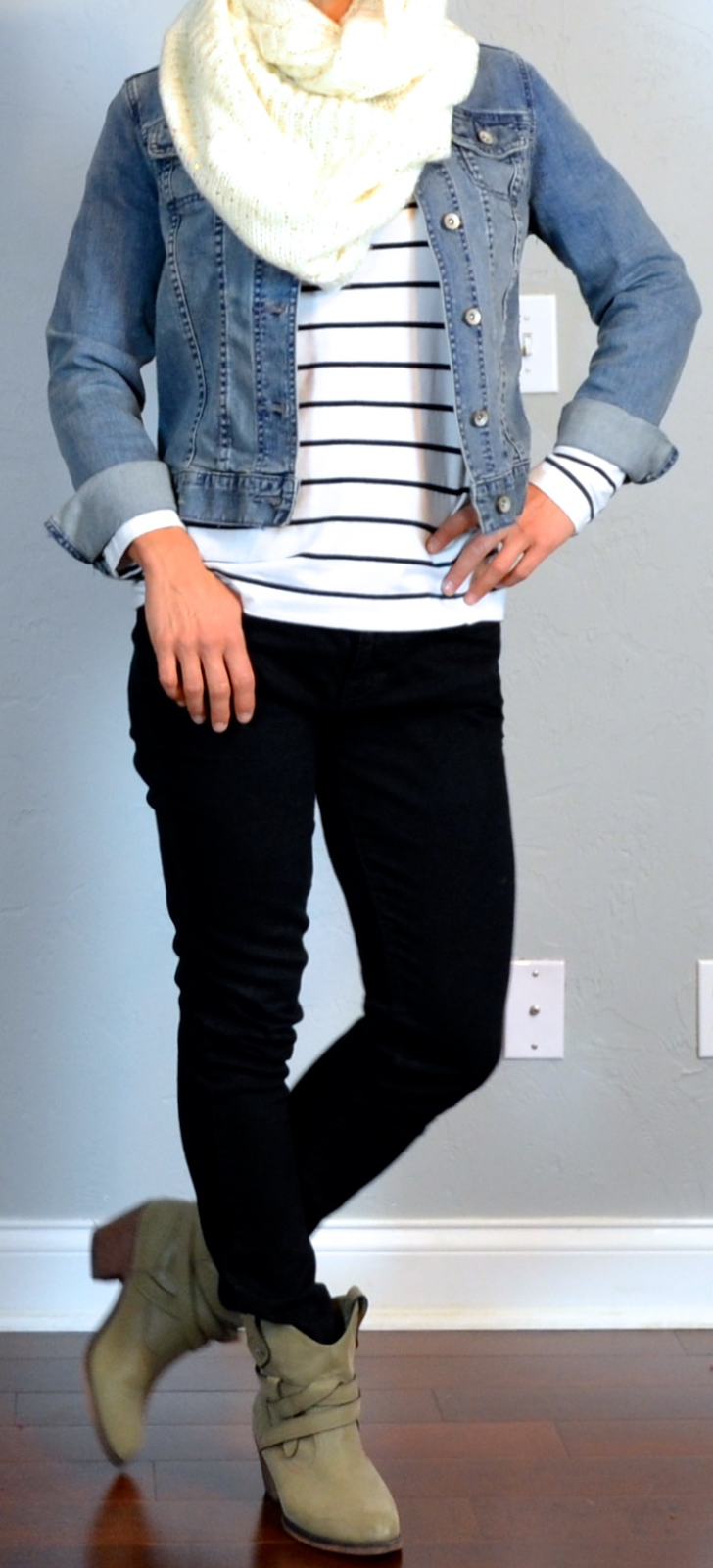 Outfit post jean jacket striped shirt black skinny jeans ankle boots cream knit infinity ...