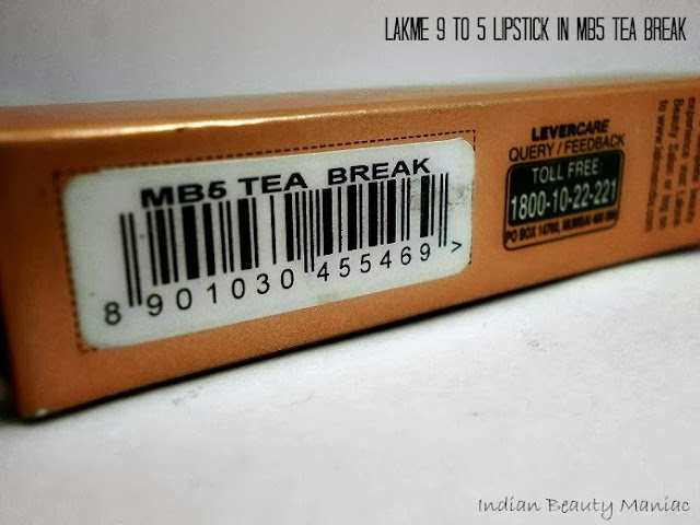 Lakme 9 to 5 Lipstick in MB5 Tea Break Review, Swatch and LOTD
