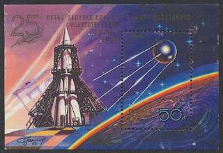 un francobollo emesso per celebrare il lancio dello Sputnik