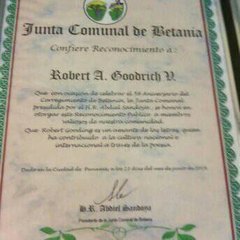 Reconocimiento por labor como Escritor y Ciudadano del Corregimiento de Betania