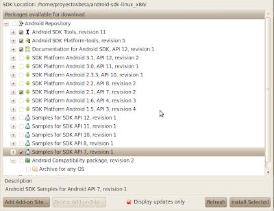 Imagen de los paquetes para desarrollar Android en eclipse