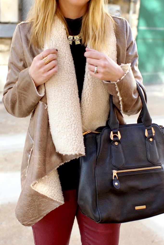 forever 21 leather shearling jacket