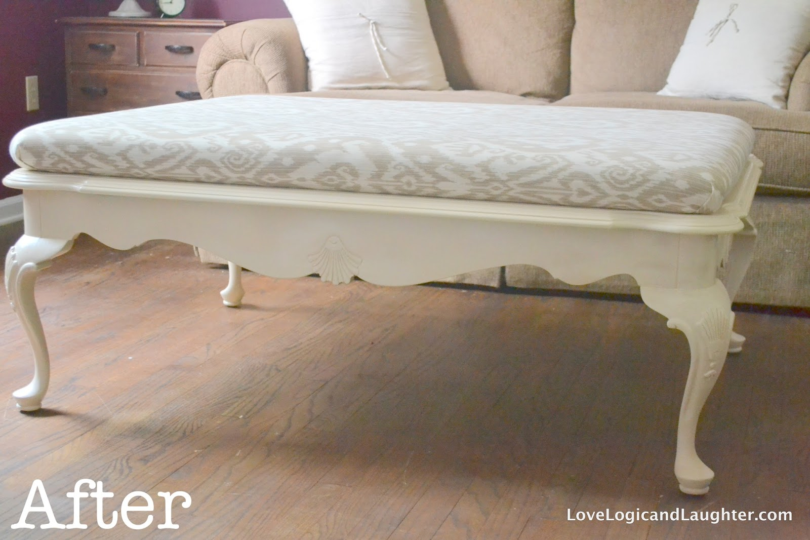 diy upholstered ottoman logic and laughter. Black Bedroom Furniture Sets. Home Design Ideas