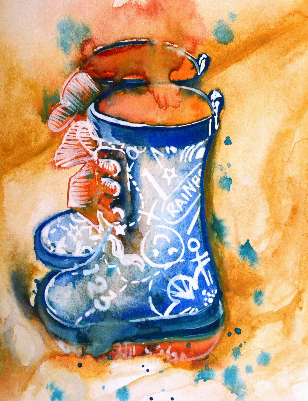 Hannah Redden Freya's first pair of wellies in Watercolour