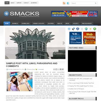 Smacks blog template. template image slider blog. magazine blogger template style. wordpress theme to blogger