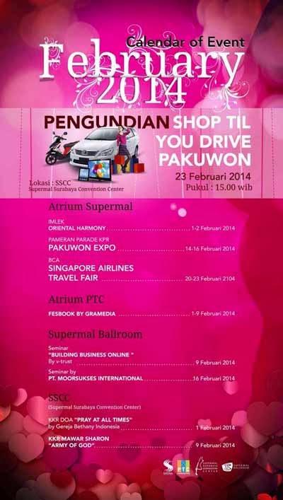 Jadwal Event Supermal Pakuwon Indah PTC Surabaya Februari