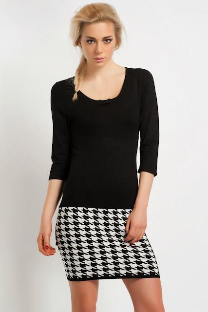 kollu, desenli siyah beyaz elbise