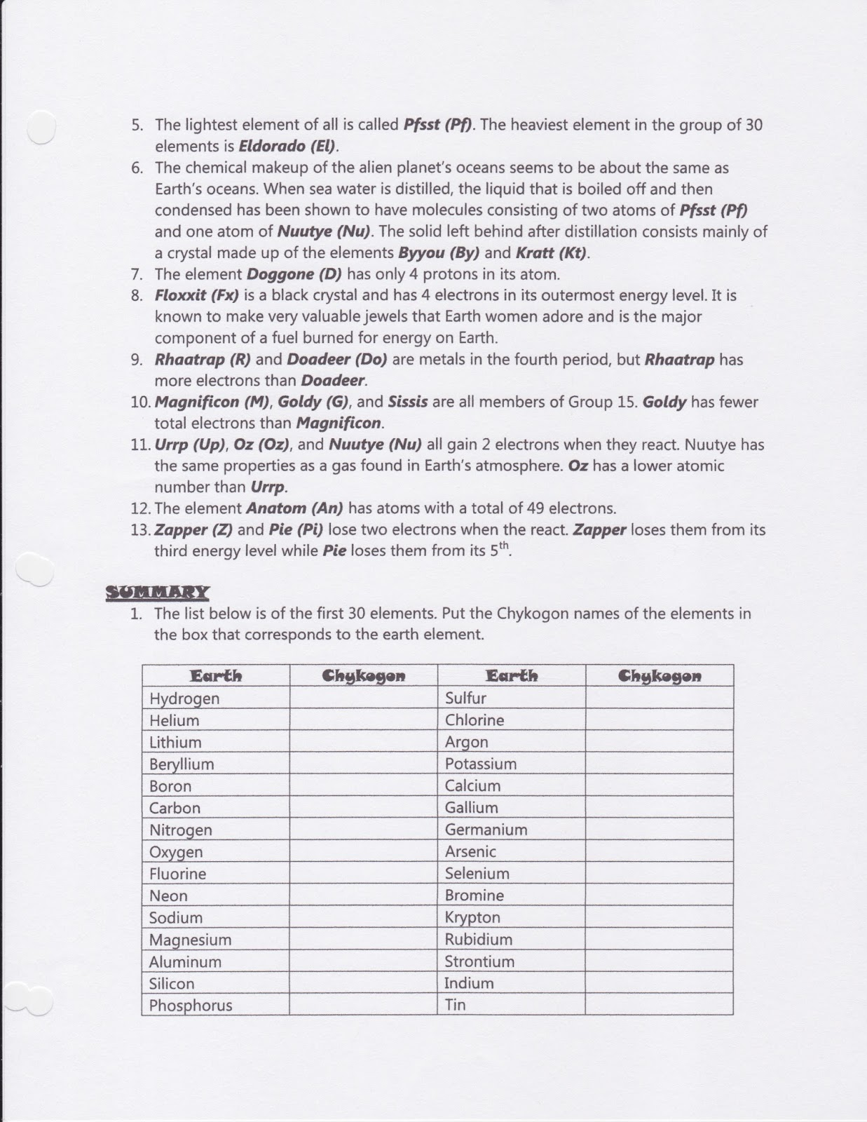 Worksheets alien periodic table worksheet answers for Table questions