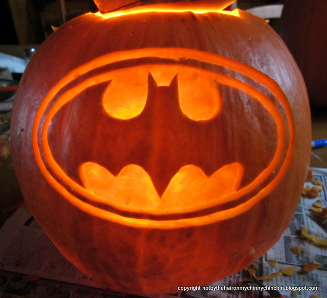Not by the hair on my chinny chin chin hallowe 39 en for Batman pumpkin carving templates free