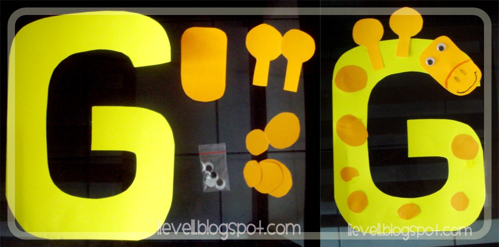 Pre nursery craft letter week g h i j lievell cut the yellow construction paper into a big letter g make two horns of giraffe and a face from orange construction paper the face was too small spiritdancerdesigns Gallery