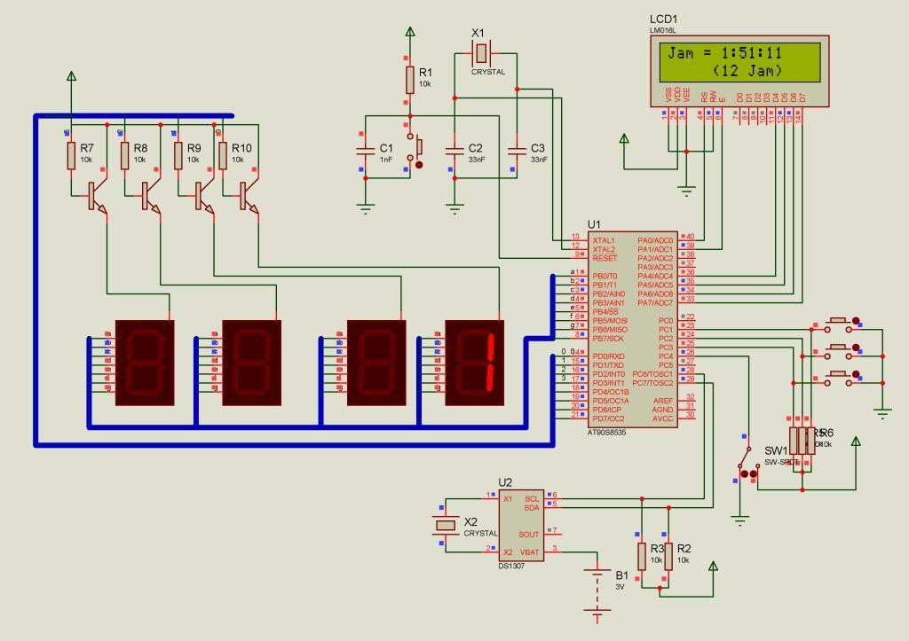 Jam digital dengan tampilan seven segmen dan LCD menggunakan RTC ...