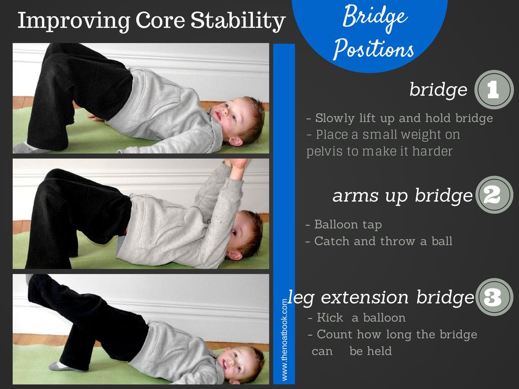 Bridge exercises to improve a child's core strength