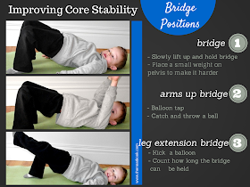 Bridge exercises to improve a child's core strength