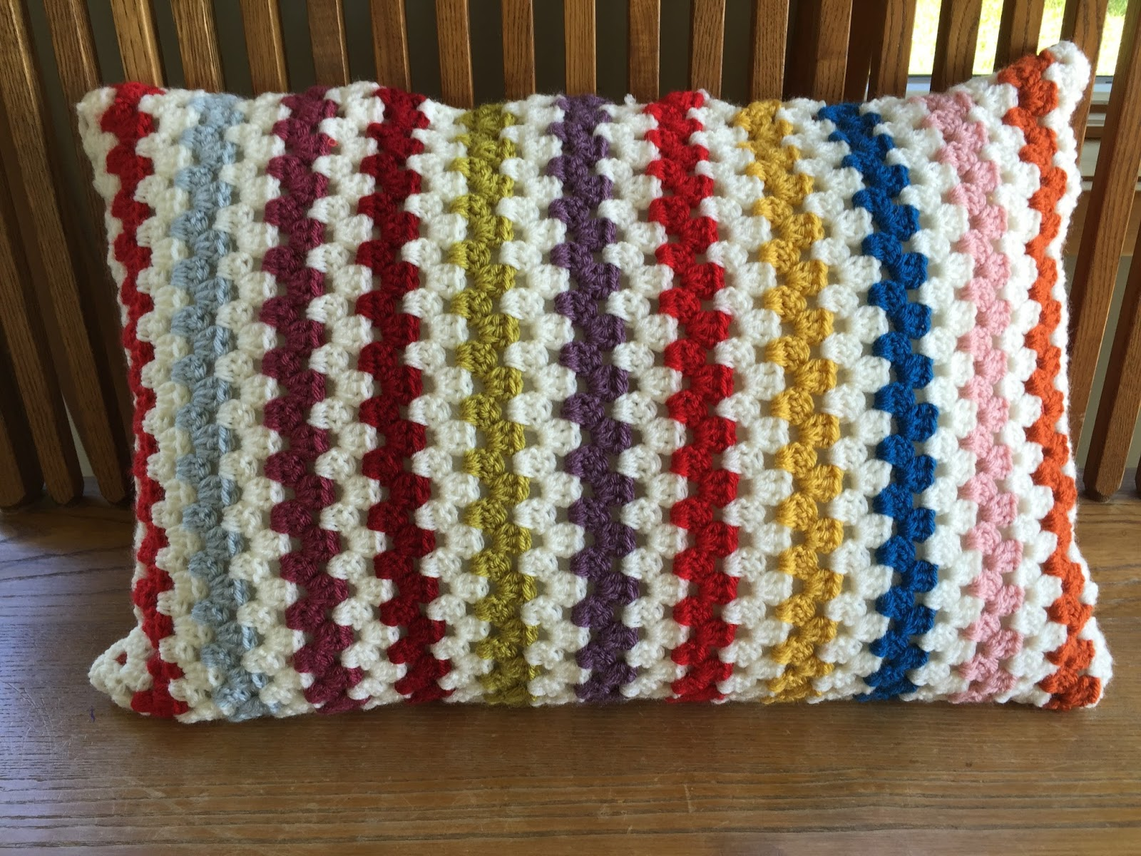 Skein and Hook: Crochet Project: Granny Stripe Pillow