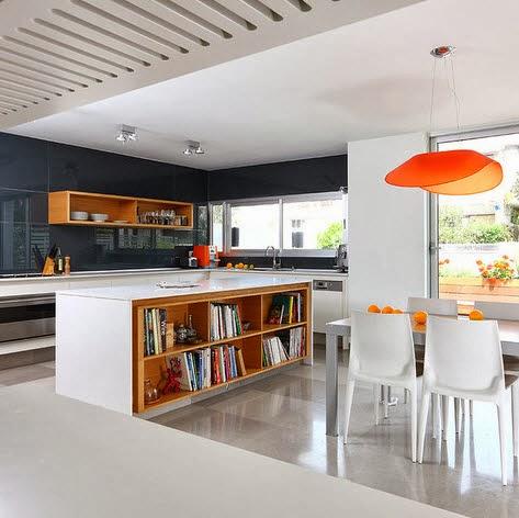 Dise o de isla de cocina con estantes para libros for Cocina con isla y desayunador