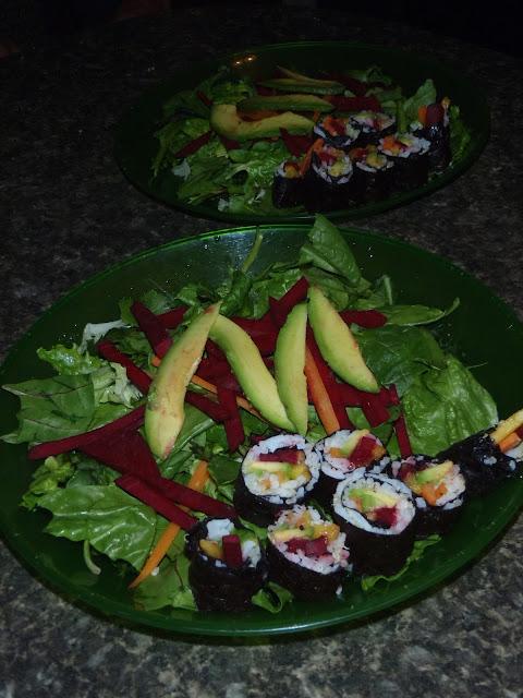 rv sushi, homemade sushi, mango sushi, avocado sushi, carrot sushi, beet sushi, quinoa sushi