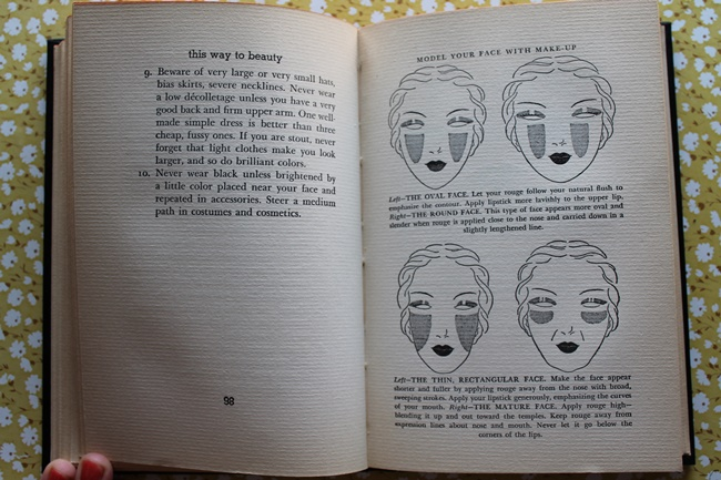 1930s vintage hair and makeup tips and blush instructions from Helena Rubenstein via VaVoomVintage.net