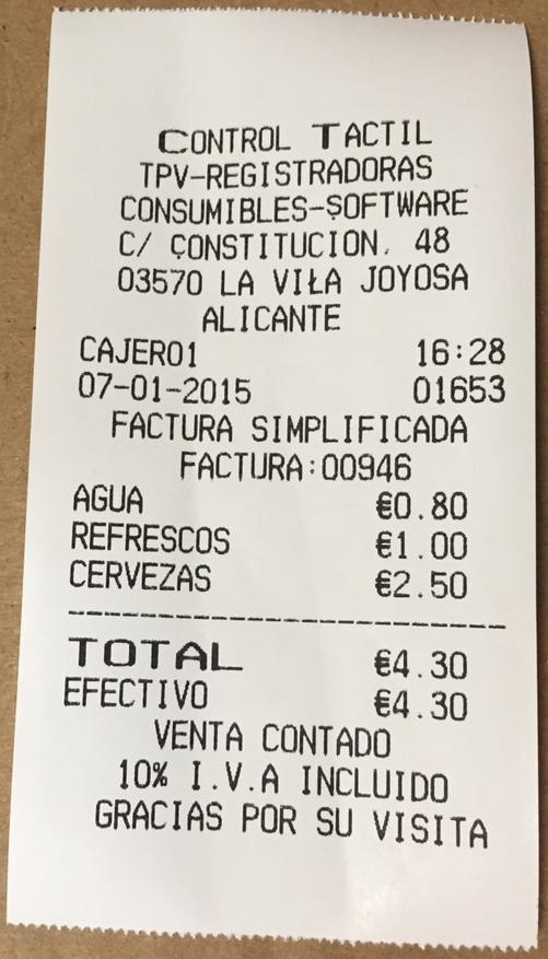 Ejemplo de factura simplificada