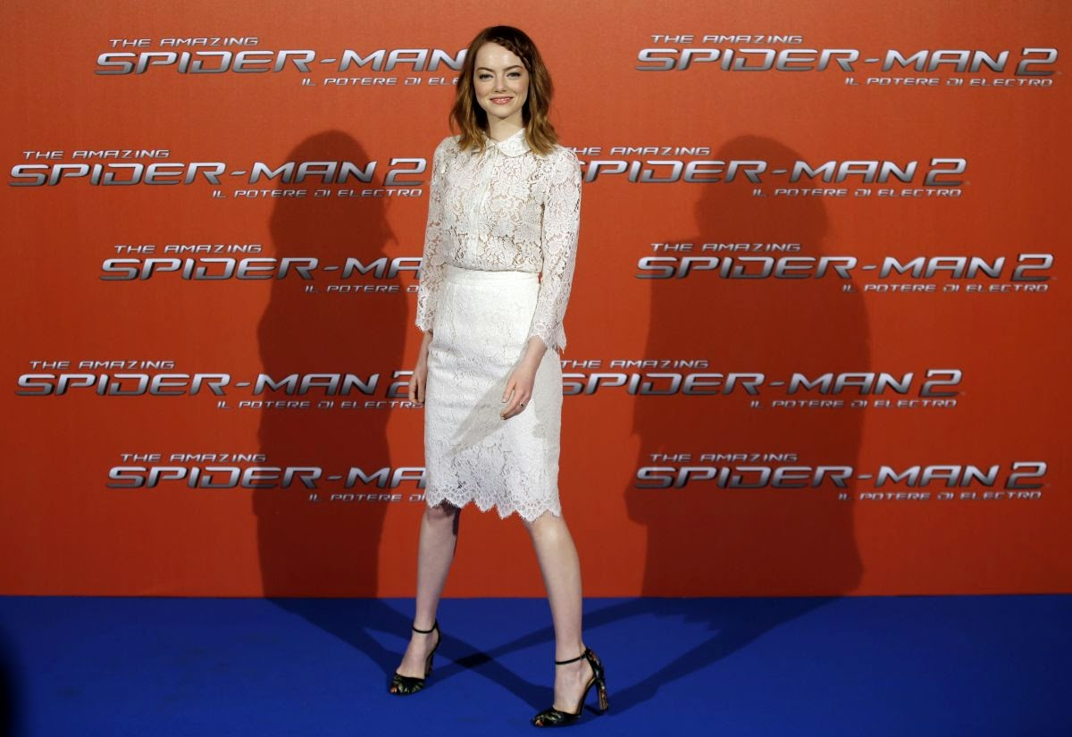Emma Stone wears Dolce & Gabbana to 'The Amazing Spider Man 2' Rome photocall