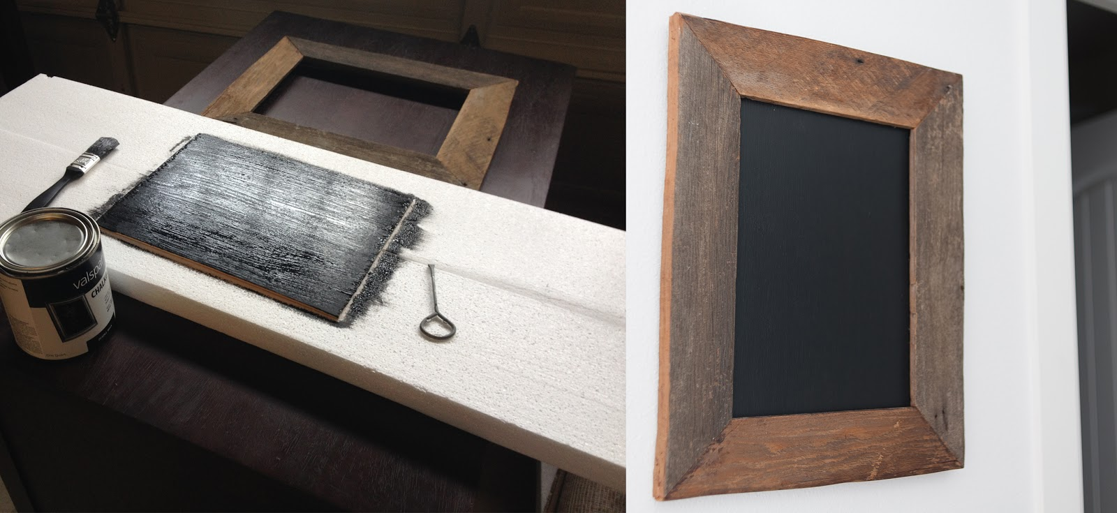 Picture frame and a plywood insert painted with chalkboard paint