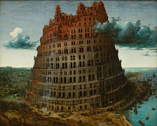 Photograph of a painting of the Tower of Babel - a positively peaceful place, compared to the torrents of comment spam that some people see