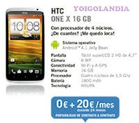 HTC ONE X 16 GB por 0€ más pago a plazos en febrero 2013