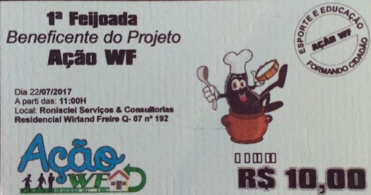 """1ª FEIJOADA BENEFICENTE! Projeto """"Ação WF"""""""